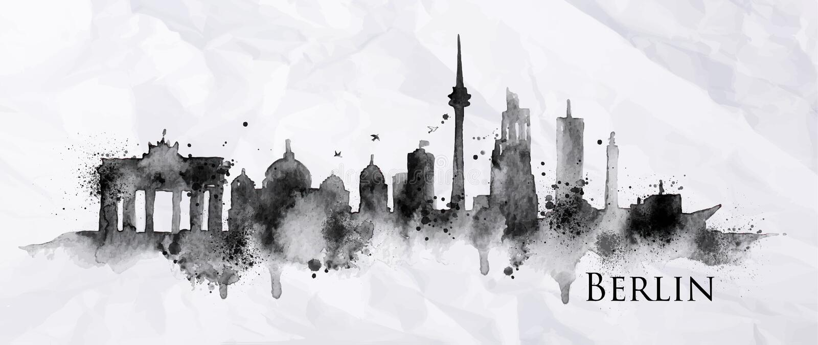 Silhouette ink Berlin. City painted with splashes of ink drops streaks landmarks drawing in black ink on crumpled paper royalty free illustration