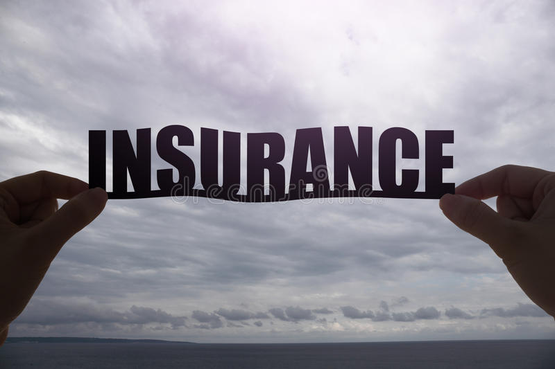 Silhouette insurance word stock image
