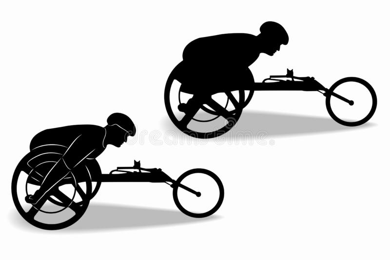 Silhouette of an invalid athlete on a wheelchair, vector drawing stock illustration