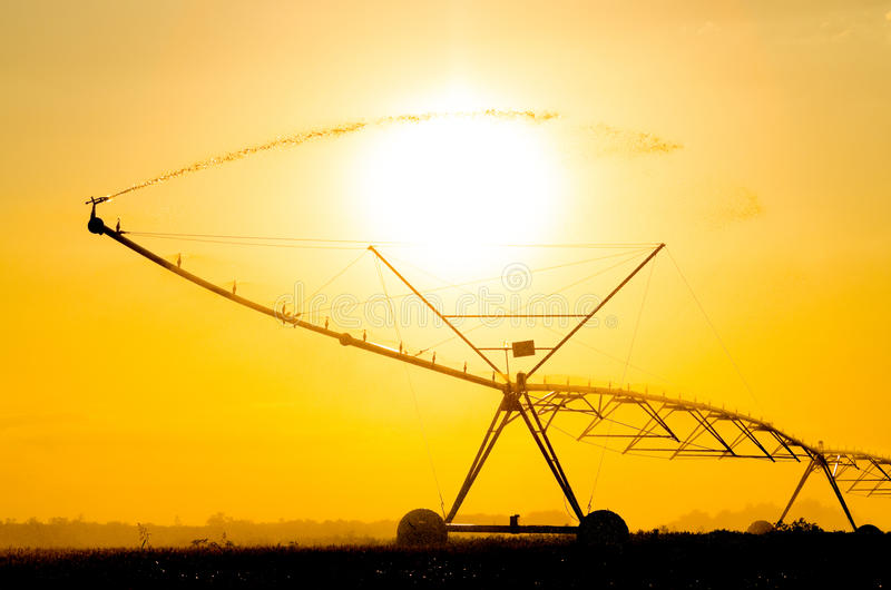 Silhouette of irrigation system watering wheat field in summer a. T dusk royalty free stock photography