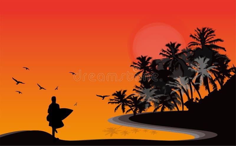 Silhouette isolée de coucher du soleil illustration de vecteur