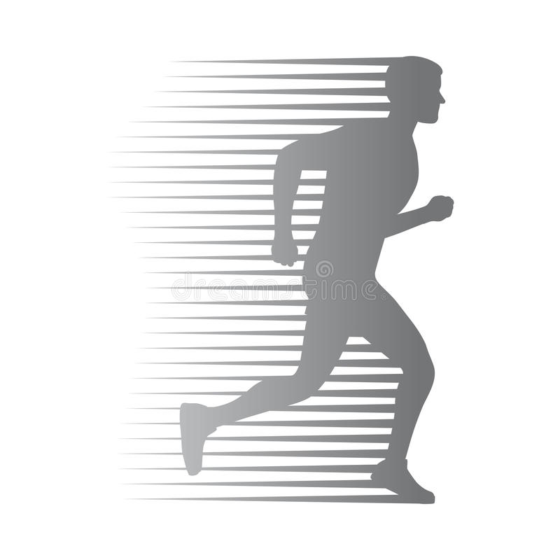 Silhouette of Isolated Man Run with Moving Lines royalty free illustration