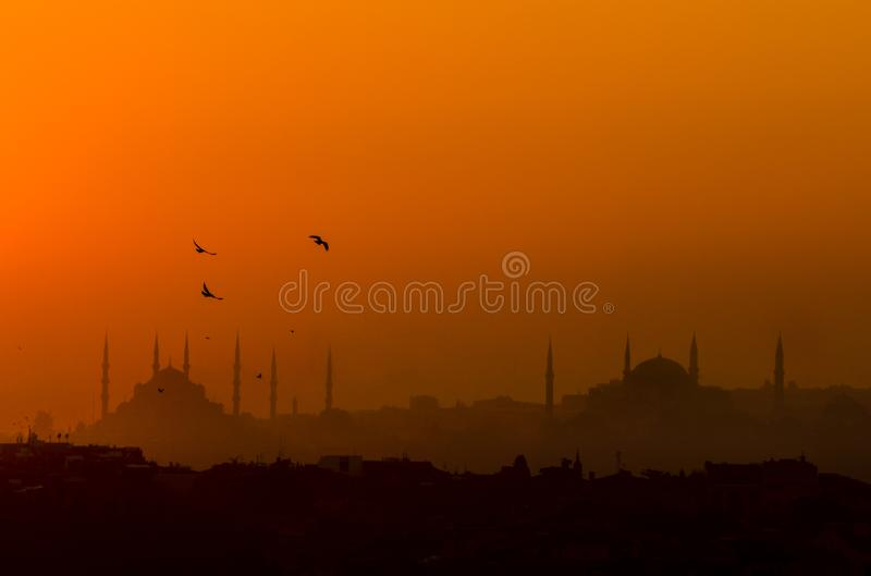 Silhouette of Istanbul with Hagia Sophia and Blue Mosque royalty free stock image