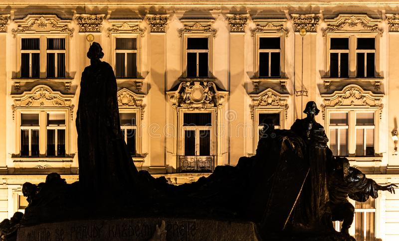 Silhouette of Jan Hus Memorial at Old Town Square by night. Prague, Czech Republic royalty free stock photos