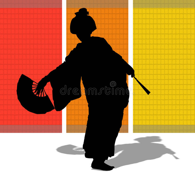 Download Silhouette Of A Japanese Woman Stock Illustration - Illustration of japanese, dancing: 9387593