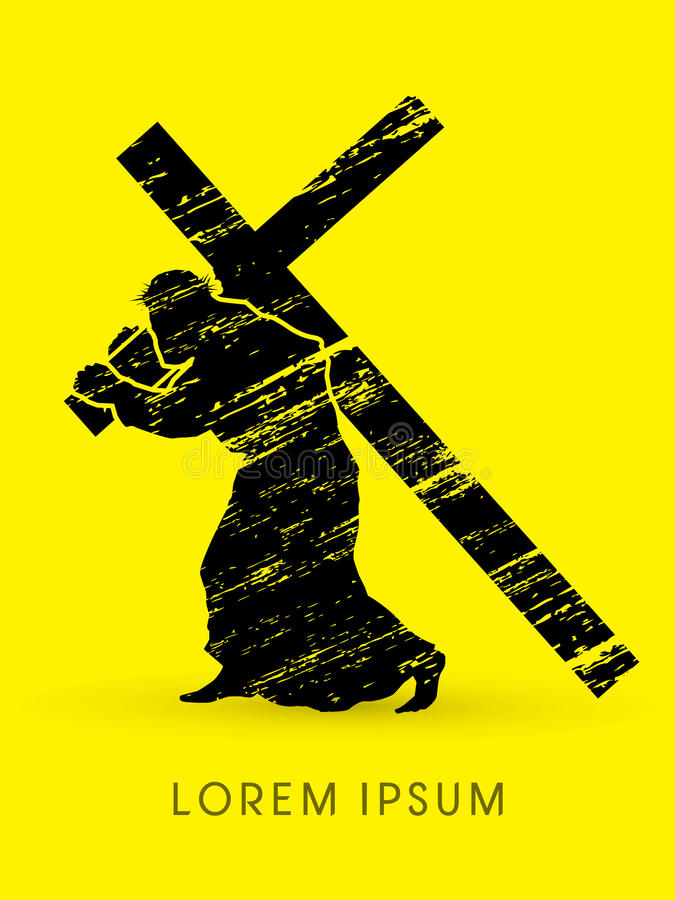 Silhouette Jesus Christ carrying cross stock illustration