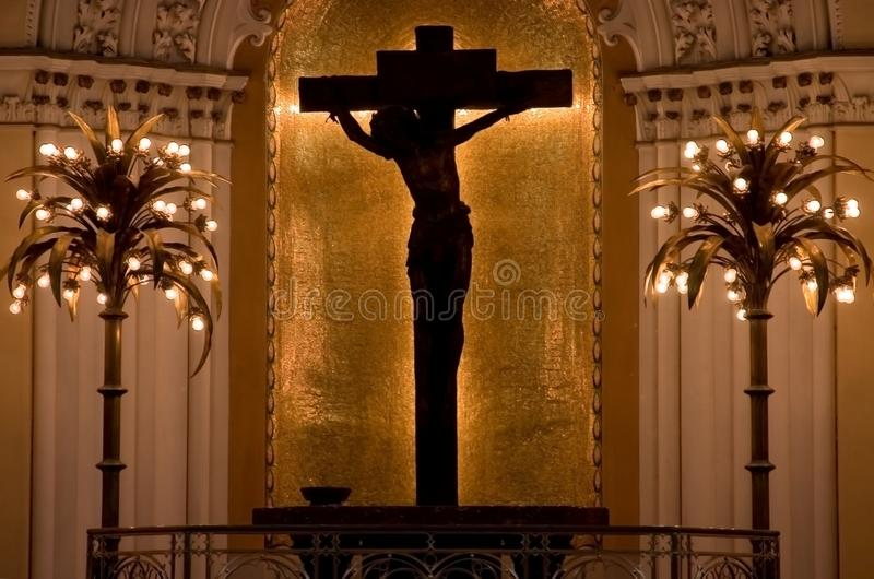 Silhouette of Jesus on Cross royalty free stock photo