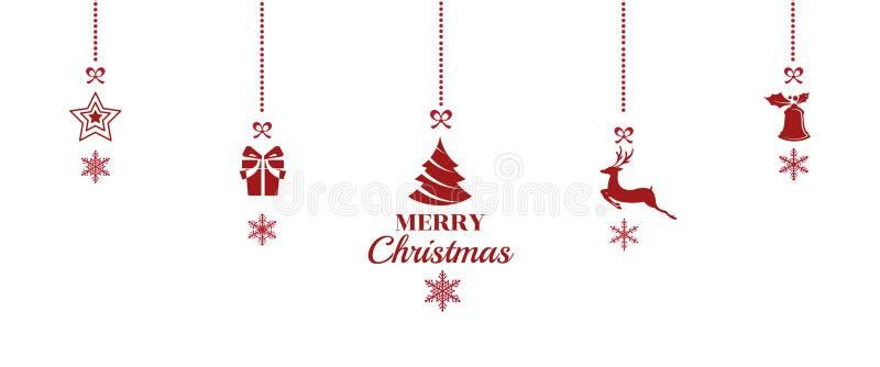 silhouette Julprydnader som hänger röd bakgrund stock illustrationer