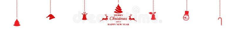 silhouette Julprydnader som hänger röd isolerad bakgrund vektor illustrationer