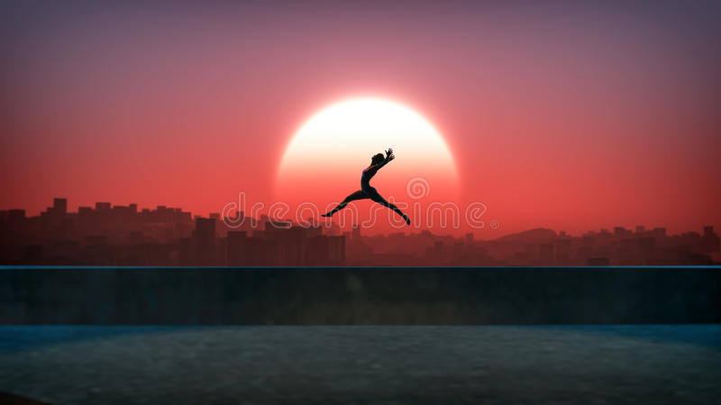 Silhouette of jumping ballet woman with skyline of skyscraper city in the background. Sunset with large sun. Rooftop of high building stock image