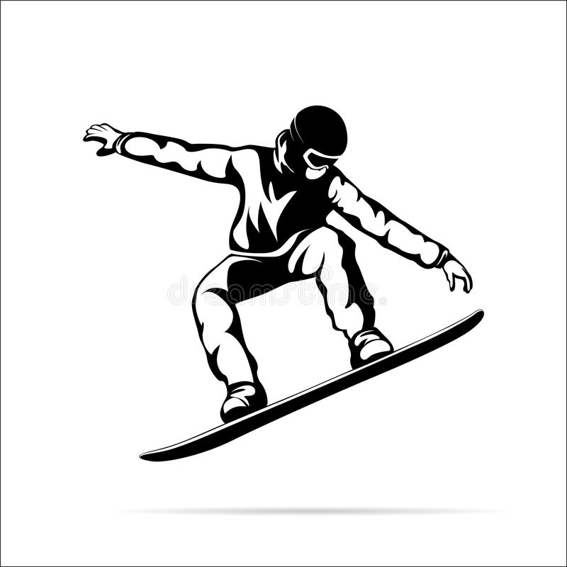 Silhouette of a jumping snowboarder stock illustration