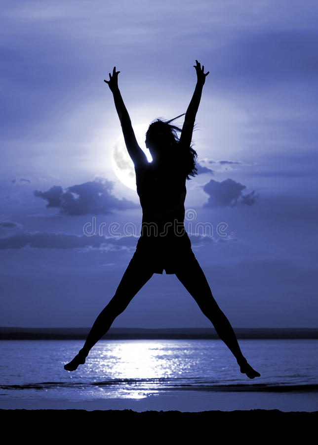 Free Silhouette Jumping Women On Moon Night Stock Images - 10915294