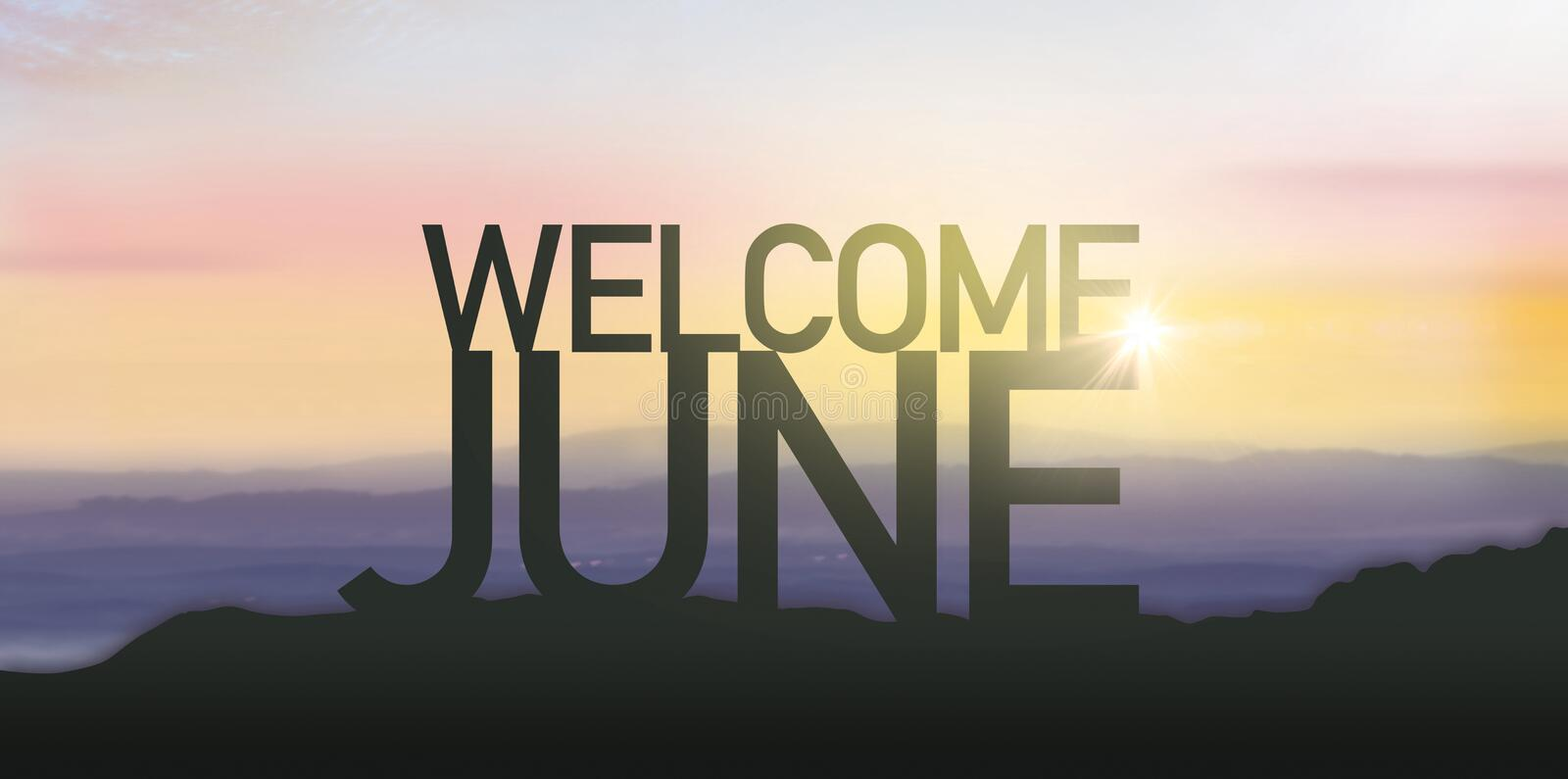 Silhouette June with sunrise. Wish you have a wonderful month stock photo