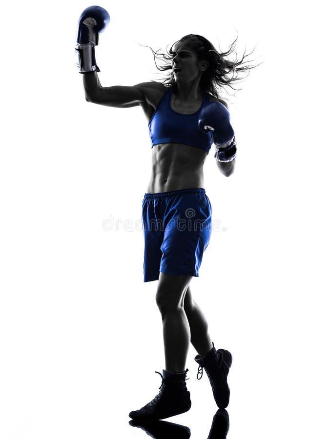 Silhouette kickboxing de boxe de boxeur de femme d'isolement image stock