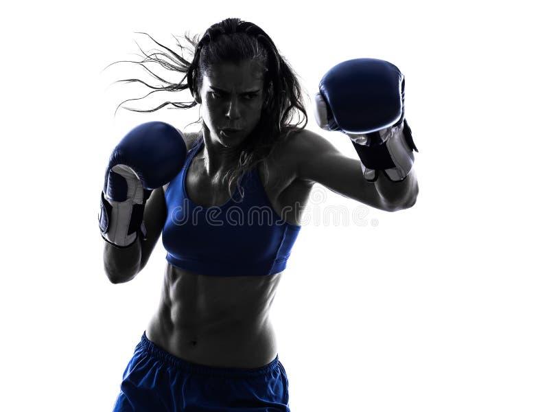 Silhouette kickboxing de boxe de boxeur de femme d'isolement photographie stock libre de droits