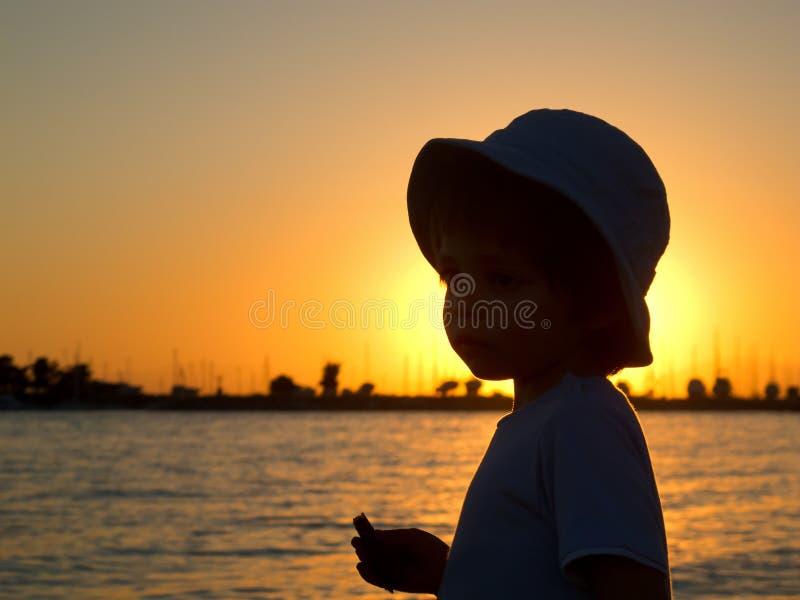 Silhouette of kid royalty free stock photos