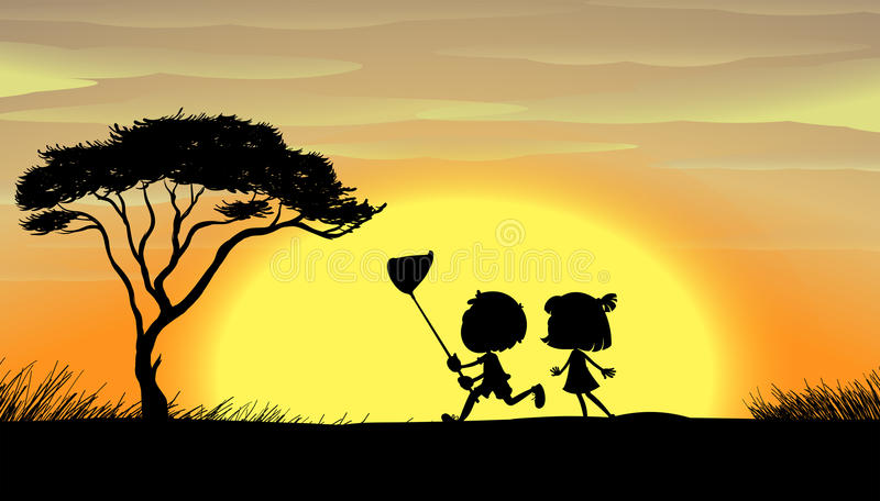 Silhouette kids running in the field stock illustration