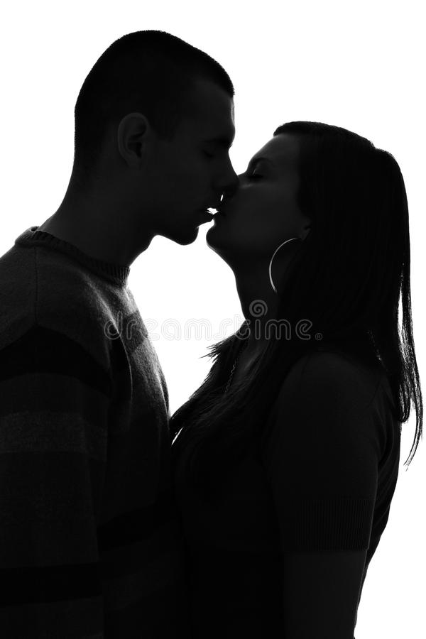 download silhouette of kissing couple isolated on white stock image image 17165065
