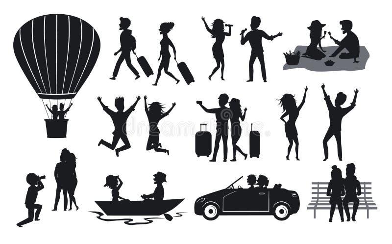 Silhouette la collection des hommes et la femme, couples voyageant avec des valises, sur le tour chaud de ballon à air, chantent, illustration stock