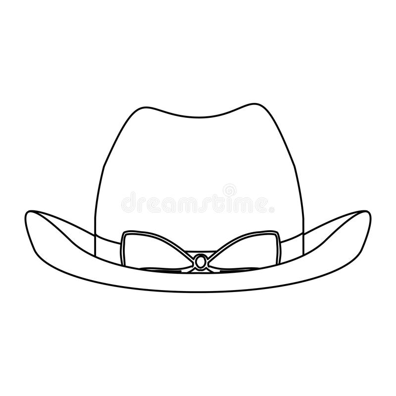 silhouette lace cowboy hat with bow retro design stock illustration