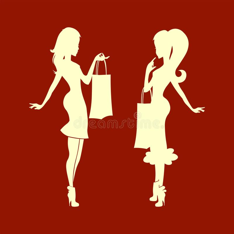 Silhouette of lady with bag on hand royalty free illustration