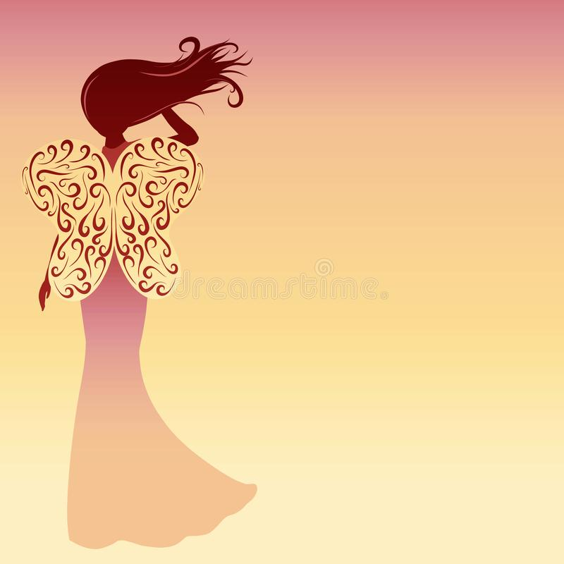Silhouette of a lady with butterfly wings on a gradient background. stock illustration