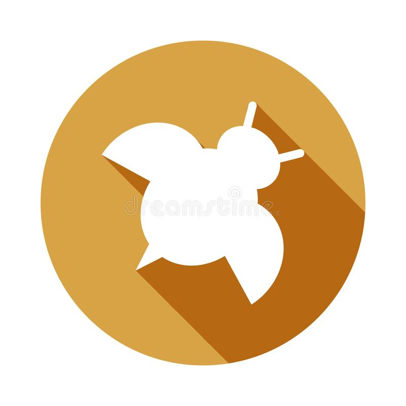Silhouette of ladybug icon in Flat, Long shadow. On white background vector illustration