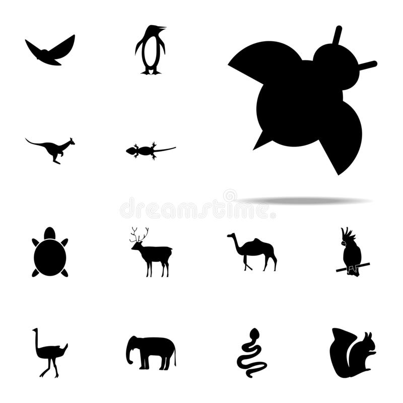 Silhouette of ladybug icon. zoo icons universal set for web and mobile. On white background royalty free illustration