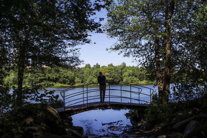 Silhouette by the lake. A summer landscape with a silhouette of a man, standing on a bridge looking out over the water of a lake royalty free stock image