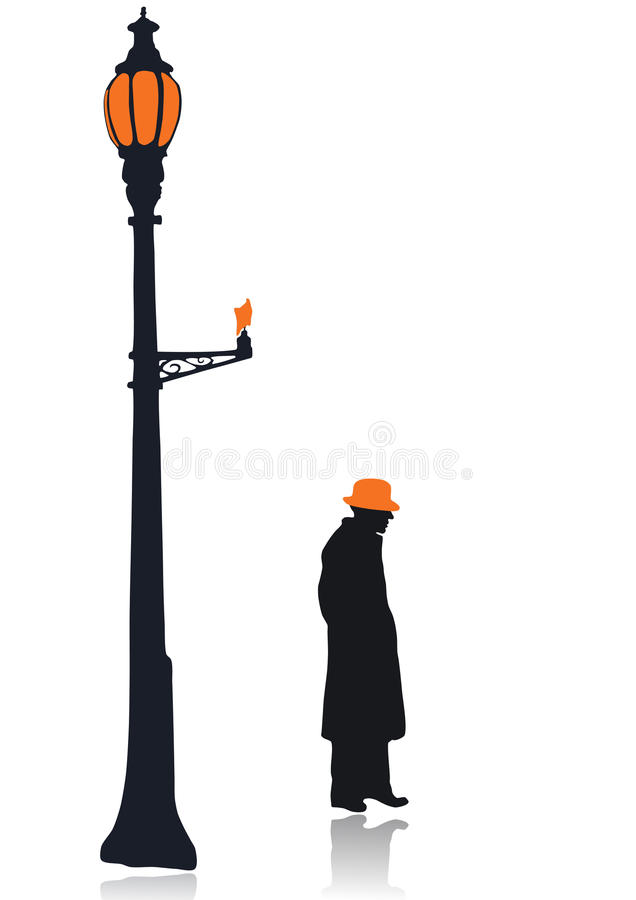 Charming Download Silhouette Of A Lamp Post And The Old Man Stock Photo   Image Of  20th
