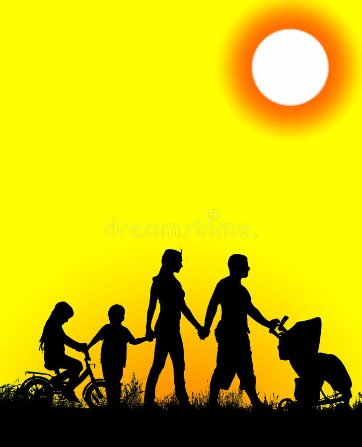 Silhouette of a large and happy family vector illustration