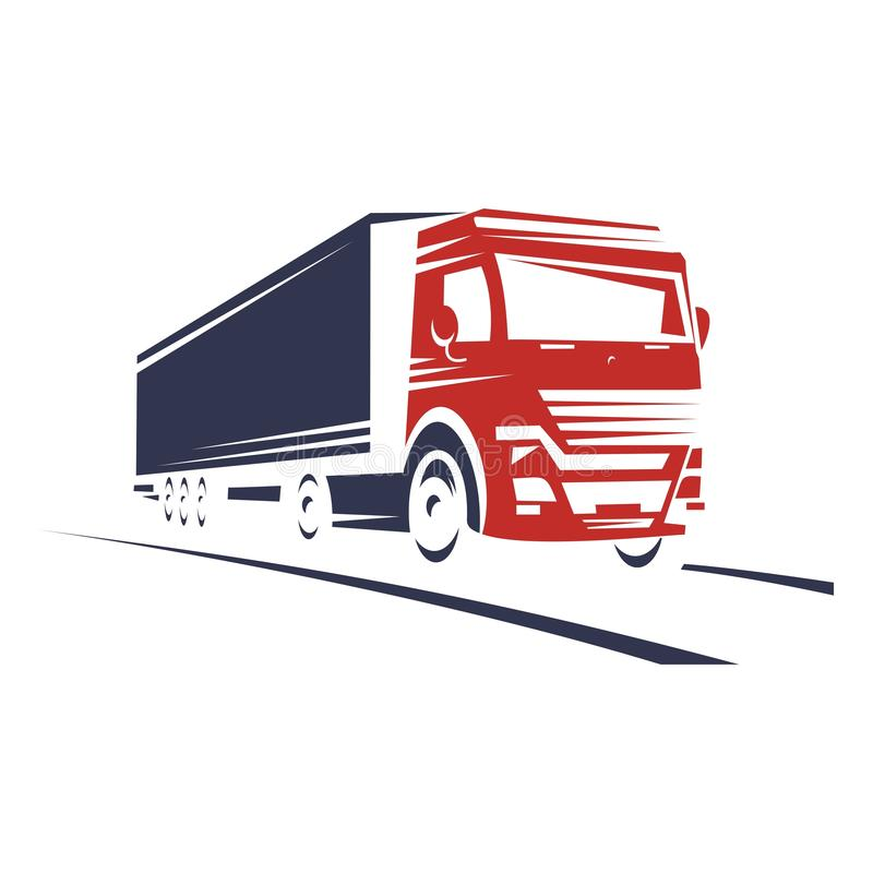 Silhouette of a large truck traveling along the road royalty free illustration