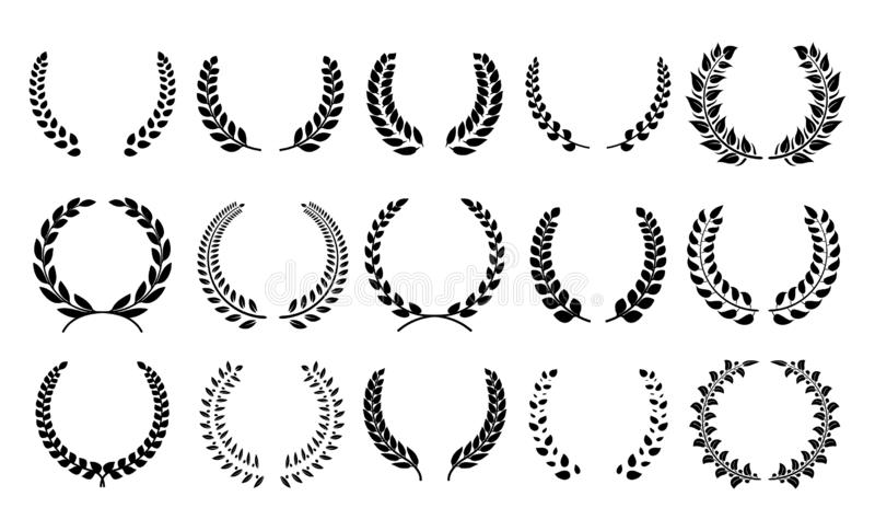 Silhouette laurel wreath. Heraldic trophy crest, Greek and Roman olive branch award, winner round emblem. Vector black royalty free illustration