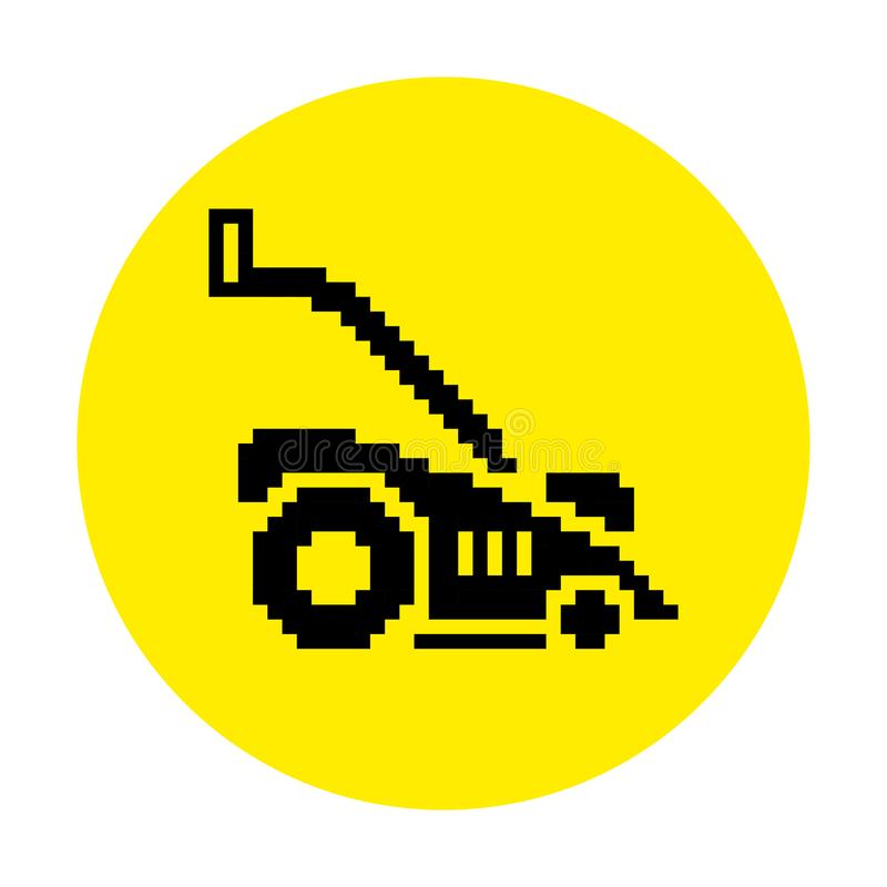 Silhouette of lawn mower flat icon in pixel style. Illustration EPS8 royalty free illustration