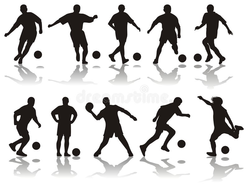 silhouette le football illustration libre de droits