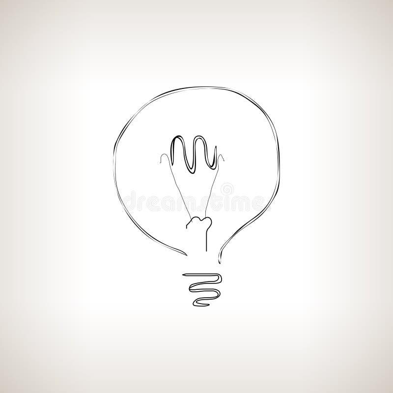 Silhouette lightbulb on a light background. Silhouette bulb , silhouette lightbulb on a light background, black and white vector illustration royalty free illustration