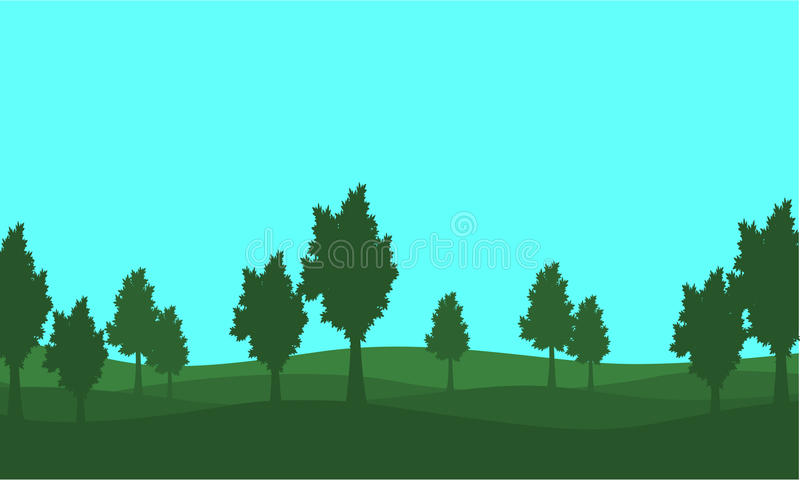 Silhouette of lined tree on the hill. Vector illustration royalty free illustration