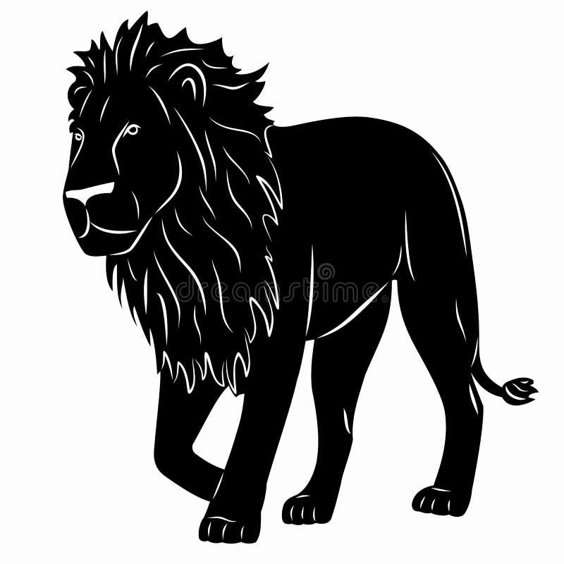 Silhouette lion vector. Black and white sketch, lion on white background.vector art illustration vector illustration