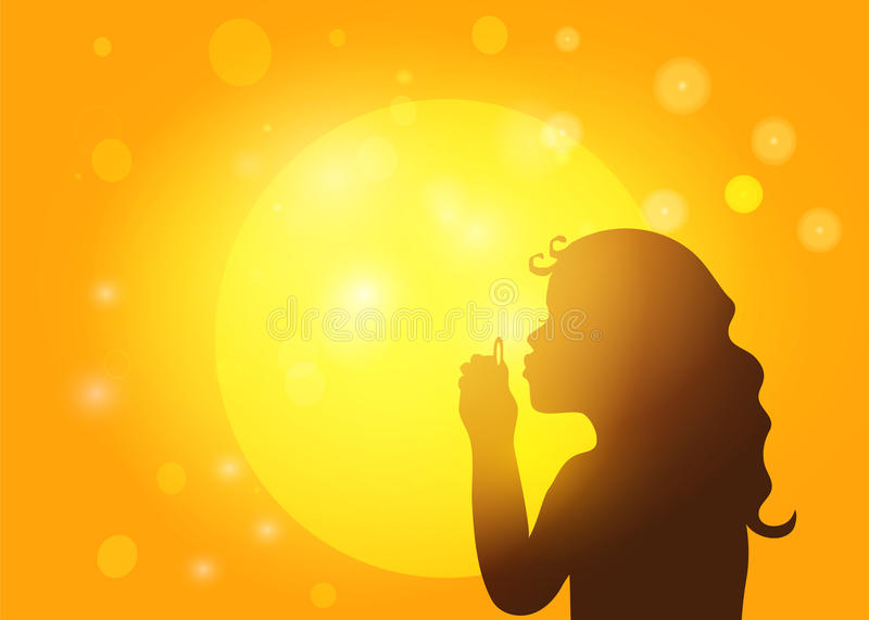 Silhouette of a little girl blowing soap bubbles royalty free illustration