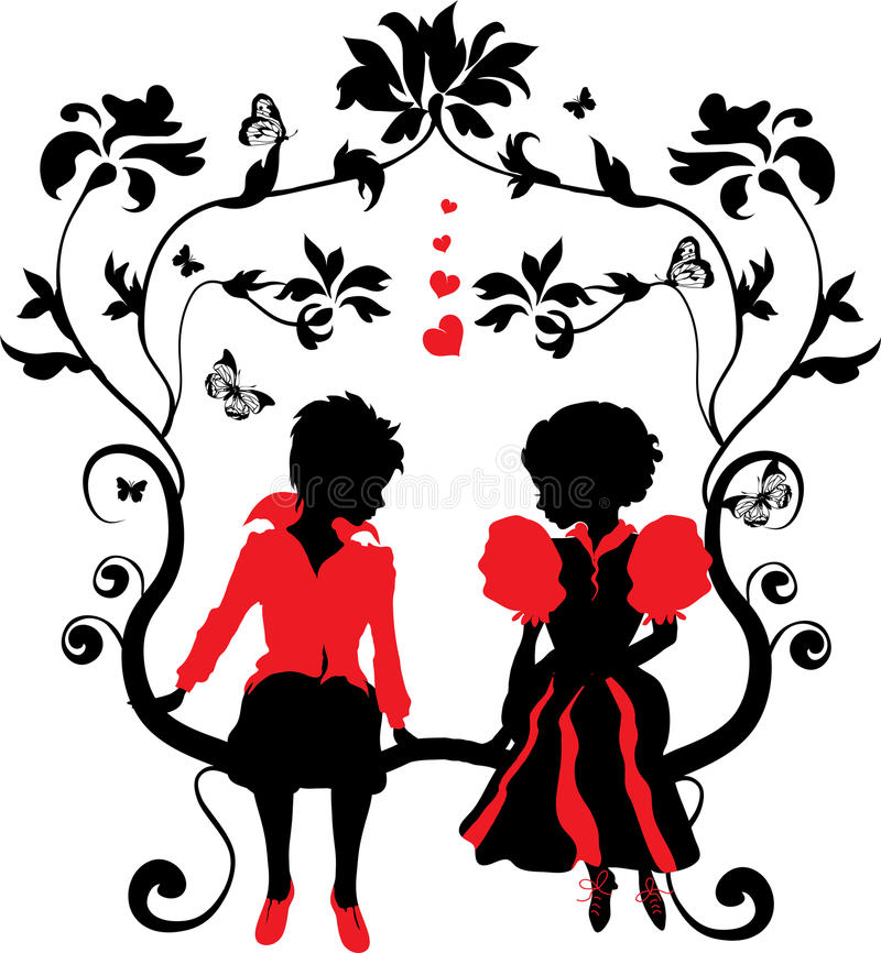 Download Silhouette Little Girl And Boy With Hearts Royalty Free Stock Images - Image: 22328399