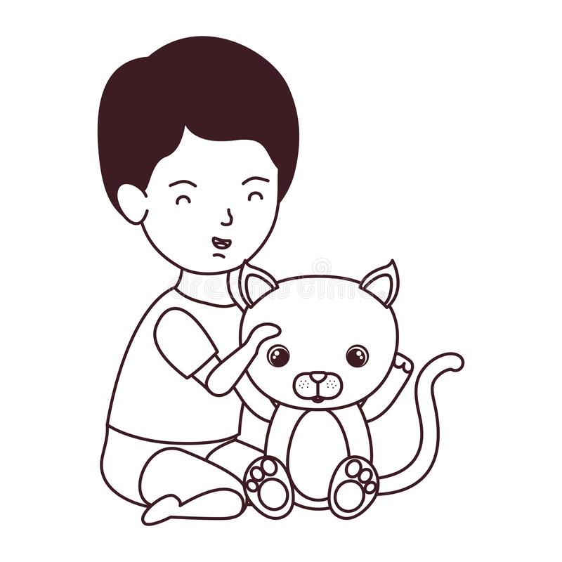 Silhouette of little kid playing with lovely kitten. Vector illustration design royalty free illustration