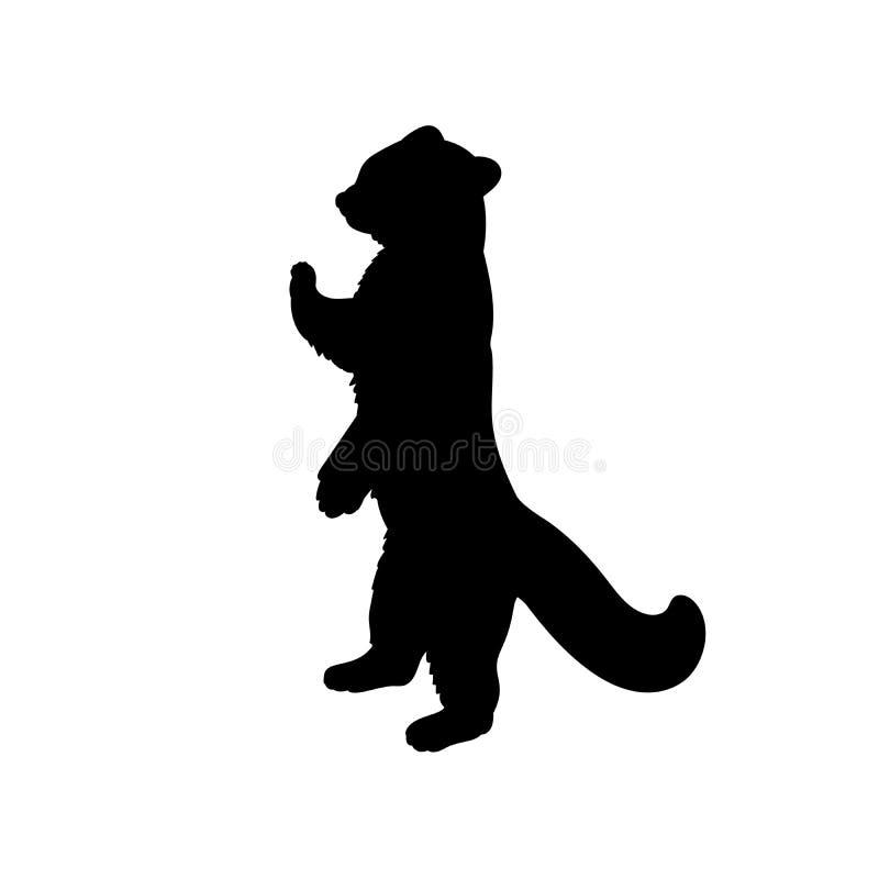 Silhouette Little Red Panda Animali felini — Panda illustrazione di stock