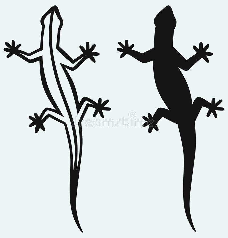 Silhouette lizard. Isolated on blue background royalty free illustration