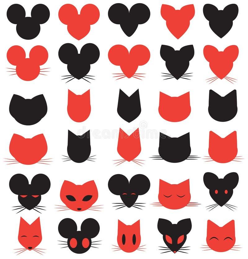 Silhouette Logo Heads de chat, de souris et de rat photographie stock