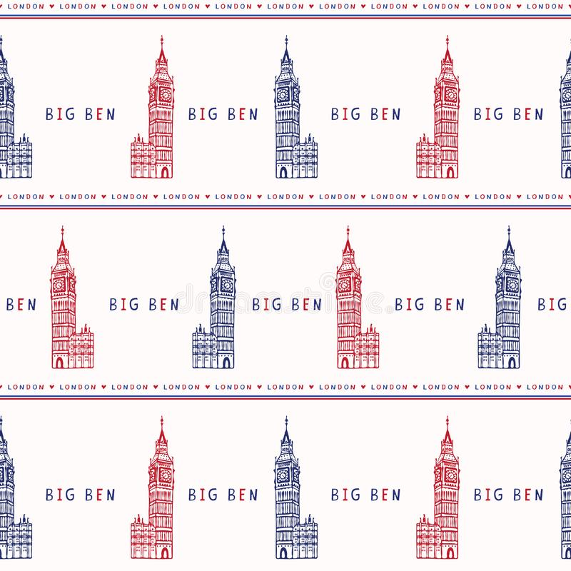 Silhouette London Big Ben Clock Tower seamless vector pattern. Famous. Historical british architecture monument. Travel vacation wallpaper, british uk vector illustration