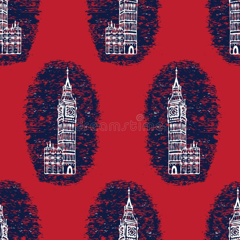 Silhouette London Big Ben Clock Tower seamless vector pattern. Famous historical. British architecture monument. Travel vacation wallpaper, british uk stock illustration