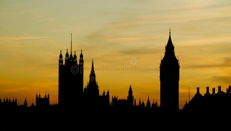 Silhouette of London - Houses of Parliament & Big stock photo