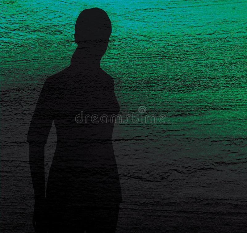 Silhouette of a lonely girl on a blue and green textured background. Sadness, longing, depression stock illustration