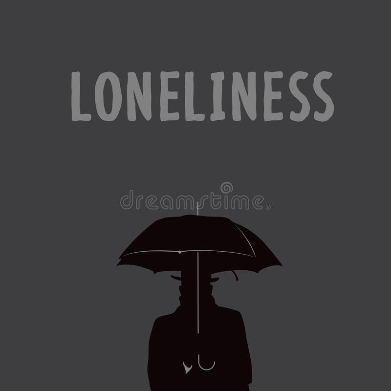 Silhouette of the lonely man under an umbrella stock illustration