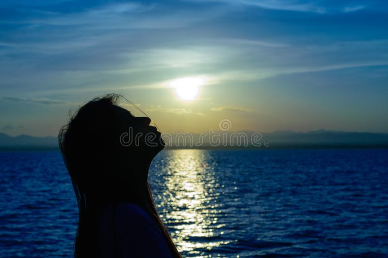 The silhouette of Long-haired woman royalty free stock image